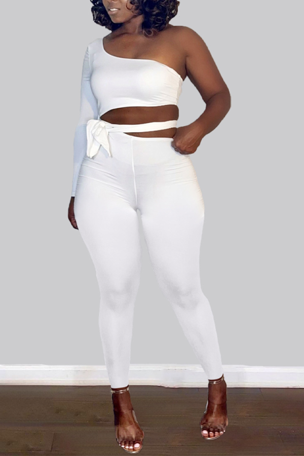 White Sexy Solid Split Joint One Shoulder Skinny Jumpsuits