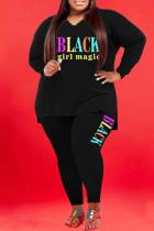 Black Fashion Casual Letter Print Basic V Neck Plus Size Two Pieces