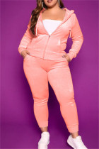 Pink Fashion Casual Solid Cardigan Pants Hooded Collar Plus Size Two Pieces