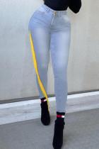 Light Blue Fashion Street Solid Tassel High Waist Denim Jeans