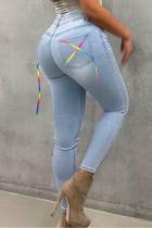 Light Blue Street Solid Split Joint Frenulum High Waist Skinny Denim Jeans