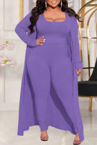 Purple Fashion Casual Solid Split Joint Square Collar Plus Size Three Pieces