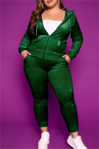 Ink Green Fashion Casual Solid Cardigan Pants Hooded Collar Plus Size Two Pieces