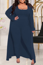 Deep Blue Fashion Casual Solid Split Joint Square Collar Plus Size Three Pieces