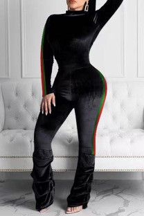 Black Fashion Casual Solid Split Joint Half A Turtleneck Long Sleeve Two Pieces