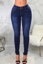 Dark Blue Fashion Casual Solid Basic High Waist Skinny Denim Jeans