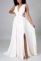 Cream White Elegant Solid Hollowed Out Split Joint V Neck Straight Dresses