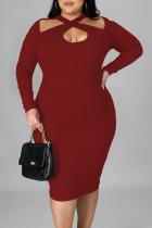 Burgundy Sexy Solid Split Joint Halter Pencil Skirt Plus Size Dresses