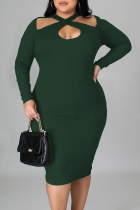 Green Sexy Solid Split Joint Halter Pencil Skirt Plus Size Dresses