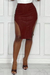 Burgundy Sexy Casual Solid Asymmetrical Skinny High Waist Skirt