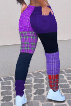 Purple Fashion Casual Patchwork Mid Waist Trousers