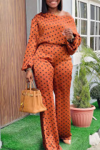Orange Fashion Casual Dot Print Basic Oblique Collar Long Sleeve Two Pieces
