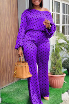 Purple Fashion Casual Dot Print Basic Oblique Collar Long Sleeve Two Pieces