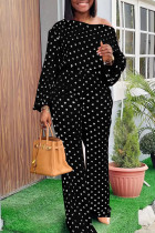 Black Fashion Casual Dot Print Basic Oblique Collar Long Sleeve Two Pieces