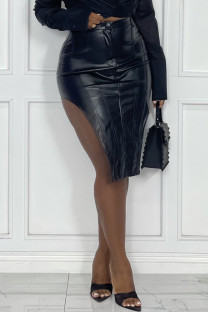 Black Sexy Casual Solid Asymmetrical Skinny High Waist Skirt