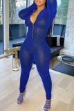 Blue Fashion Sexy Solid Basic Zipper Collar Skinny Jumpsuits