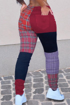 Red Fashion Casual Patchwork Mid Waist Trousers