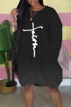 Black Casual Print Split Joint O Neck Long Sleeve Dresses