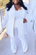 White Casual Solid Split Joint Spaghetti Strap Plus Size Three Pieces