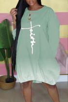 Green Casual Print Split Joint O Neck Long Sleeve Dresses