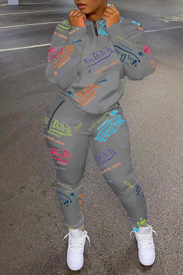 Grey Fashion Casual Print Split Joint Zipper Collar Long Sleeve Two Pieces
