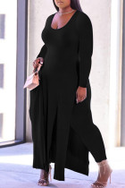 Black Fashion Casual Solid Slit O Neck Plus Size Two Pieces