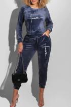 Tibetan Blue Fashion Casual Print Split Joint O Neck Long Sleeve Two Pieces