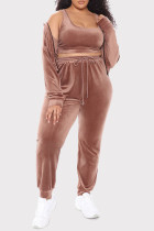 Dark Brown Fashion Casual Solid Cardigan Vests Pants Hooded Collar Long Sleeve Plus Size Three-piece Set