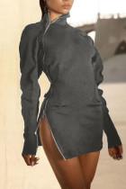 Grey Sexy Solid Split Joint Zipper Zipper Collar One Step Skirt Dresses