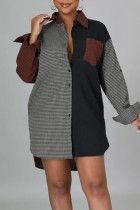Brown Casual British Style Print Split Joint Pocket Buckle Turndown Collar Shirt Dress Dresses