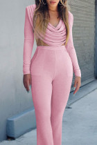 Pink Fashion Sexy Solid Split Joint V Neck Long Sleeve Two Pieces