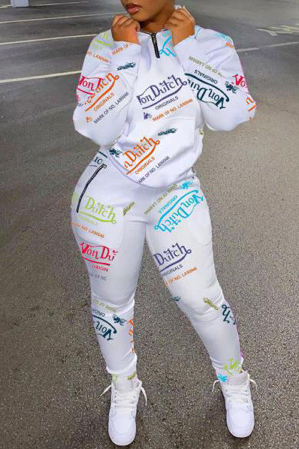White Fashion Casual Print Split Joint Zipper Collar Long Sleeve Two Pieces