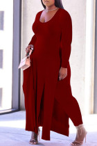 Burgundy Fashion Casual Solid Slit O Neck Plus Size Two Pieces