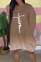 Khaki Casual Print Split Joint O Neck Long Sleeve Dresses