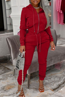 Red Fashion Casual Solid Split Joint Hooded Collar Long Sleeve Two Pieces