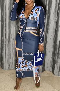 Deep Blue Sexy Print Split Joint Zipper Collar One Step Skirt Dresses