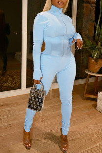 Baby Blue Fashion Sexy Solid Split Joint Zipper Collar Long Sleeve Two Pieces