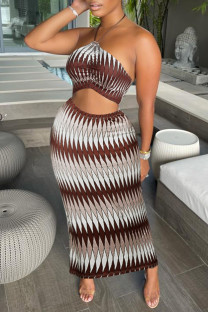 Coffee Fashion Casual Print Split Joint Halter Sleeveless Two Pieces