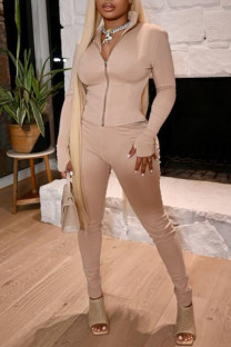 Apricot Fashion Sexy Solid Split Joint Zipper Collar Long Sleeve Two Pieces