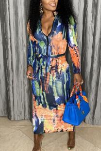 Blue Orange Sexy Print Split Joint Zipper Collar One Step Skirt Dresses