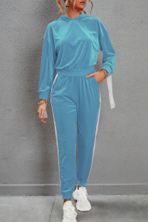 Blue Casual Solid Split Joint Hooded Collar Long Sleeve Two Pieces