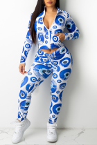 Peacock Blue Sexy Print Split Joint Turndown Collar Long Sleeve Two Pieces