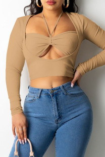 Apricot Sexy Solid Hollowed Out Split Joint Frenulum Asymmetrical Square Collar Tops