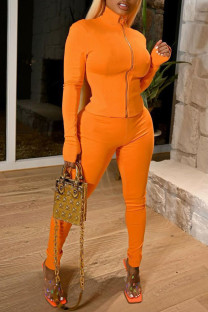 Orange Fashion Sexy Solid Split Joint Zipper Collar Long Sleeve Two Pieces