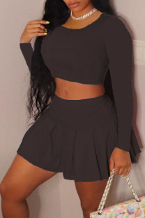 Black Casual Solid Split Joint Fold O Neck Long Sleeve Two Pieces