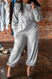 Grey Casual Solid Split Joint Draw String Zipper Collar Loose Jumpsuits