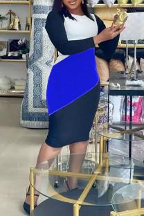 Deep Blue Casual Color Lump Print Split Joint O Neck One Step Skirt Plus Size Dresses
