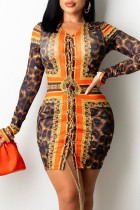 Leopard Print Sexy Print Split Joint Frenulum O Neck A Line Dresses