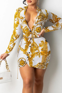 White Sexy Print Split Joint Buckle V Neck Pencil Skirt Dresses