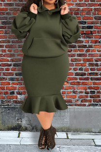 Army Green Casual Solid Split Joint Pocket Fold Hooded Collar Plus Size Two Pieces